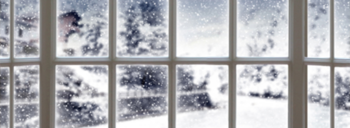 A close-cropped photo of the panes of a window, through which a blurry but snowy outdoor scene can be made out.
