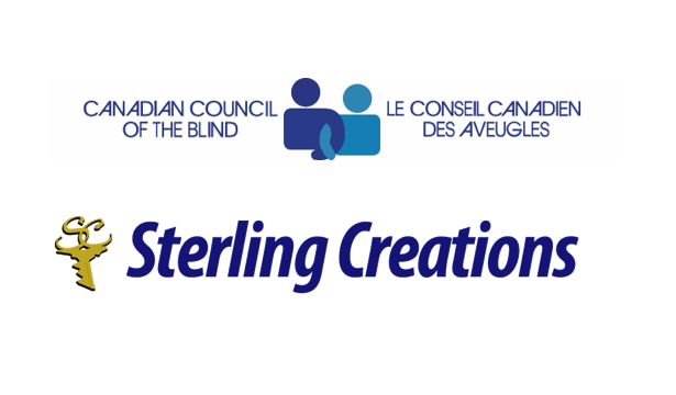 The Canadian Council of the Blind logo sits above the Sterling Creations logo.